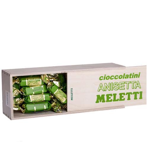Torroncini Cioccolato Nocciolato all'Anisetta Meletti Scatola Legno 300 Gr.