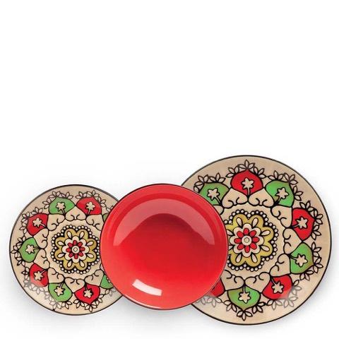 Set 3 Piatti Mediterraneo Rosso Egan