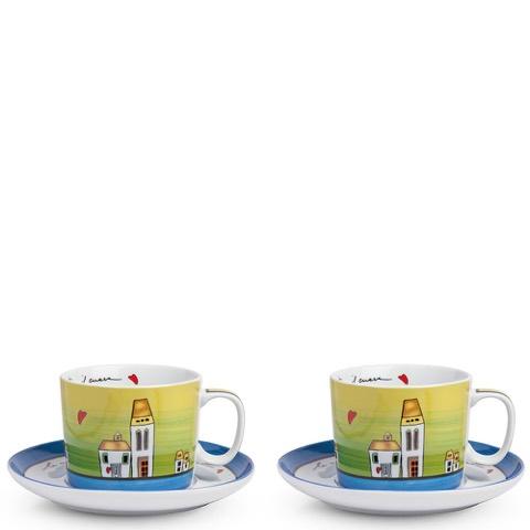 Set 2 Tazze Colazione Le Casette Blu Egan