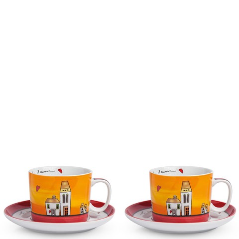 Set 2 Tazze Colazione Le Casette Rosso Egan