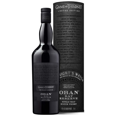 Whisky Scotch Single Malt Bay Reserve The Night's Whatch Game Of Thrones Limited Edition Oban 70 Cl in Tubo