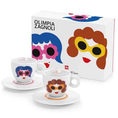 Tazzine da Cappuccino Illy Art Collection Olimpia Zagnoli Confezione 2 pz