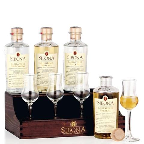 Confezione Old Tavern in Legno 4 Bicchieri Sibona