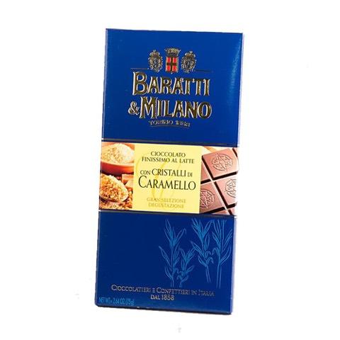 Tavoletta di Cioccolato Finissimo al Latte con Cristalli di Caramello Baratti & Milano 75 Gr.