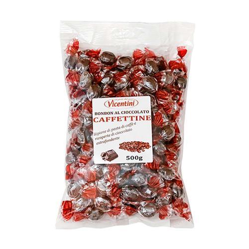 Caffettine Caramelle Ricoperte di Cioccolato Fondente Vicentini Busta 500 Gr
