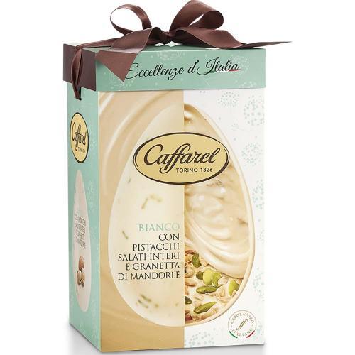 Uovo di Cioccolato Bianco con Pistacchi Salati Interi e Granetta di Mandorle Caffarel 420 Gr