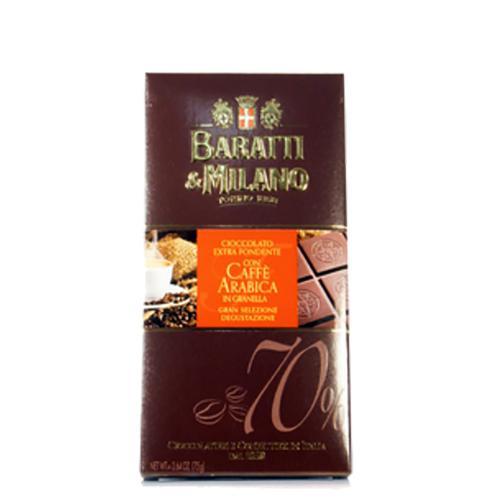Tavoletta di Cioccolato Extra Fondente con Caffè Arabica in Granella Baratti & Milano 75 Gr.
