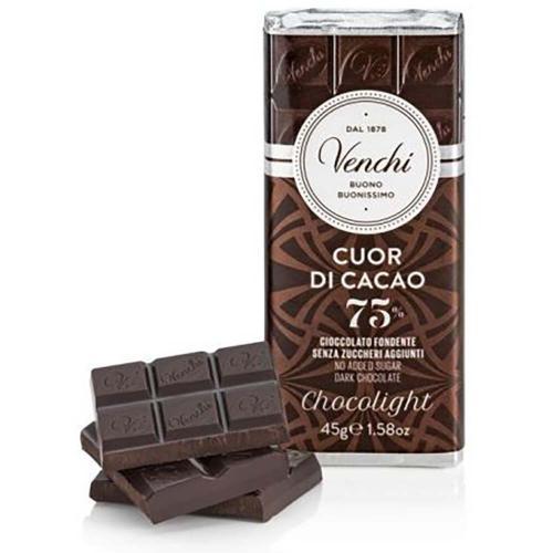 Tavoletta di Cioccolato Ripiena Crema Cuor di Cacao 75% Chocolight Astucciata Venchi 100 Gr