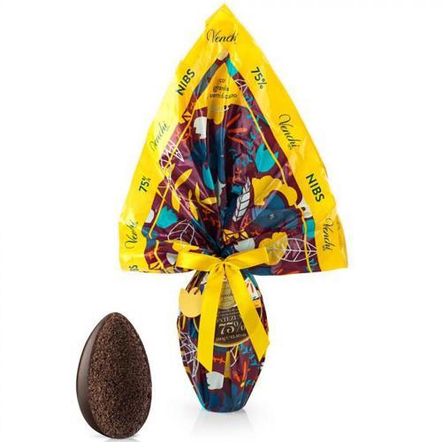 Uovo di Cioccolato Extra Fondente 75% con Granella di Semi di Cacao Tostati Montezuma Nibs Venchi 380 Gr