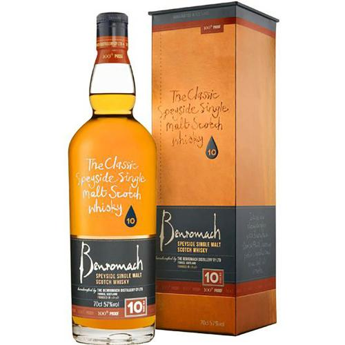 Whisky Scotch Single Malt Speyside 100° Proof 10 Years Old Benromach 70 Cl in Astuccio
