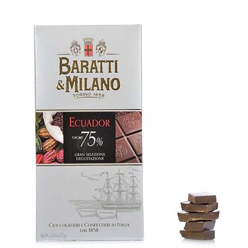 Tavoletta al Cioccolato Ecuador Fondente Extra 75% Baratti & Milano 75 Gr.