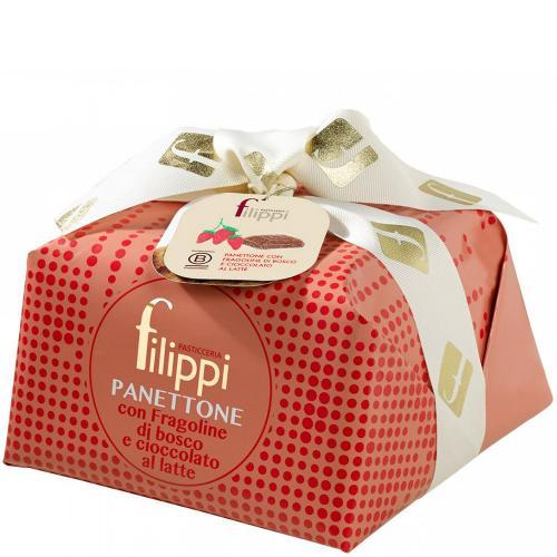 Panettone Fragoline di Bosco e Cioccolato al Latte Pasticceria Filippi 1 Kg