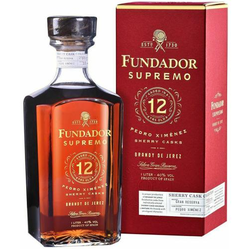 Brandy De Jerez Supremo 12 Years Old Sherry Casks Fundador 70 Cl in Astuccio