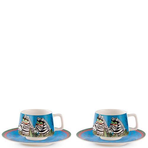 Set 2 Tazze Caffè con Piattino Azzurro Laurel Burch Jungle Egan