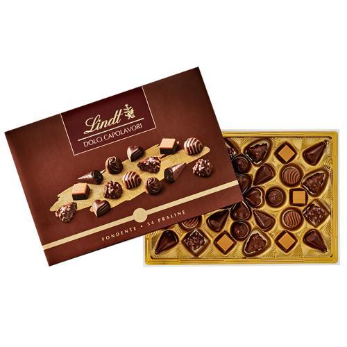 Scatola Cioccolatini Dolci Capolavori Dark 30 Praline Lindt Confezione Gr. 306
